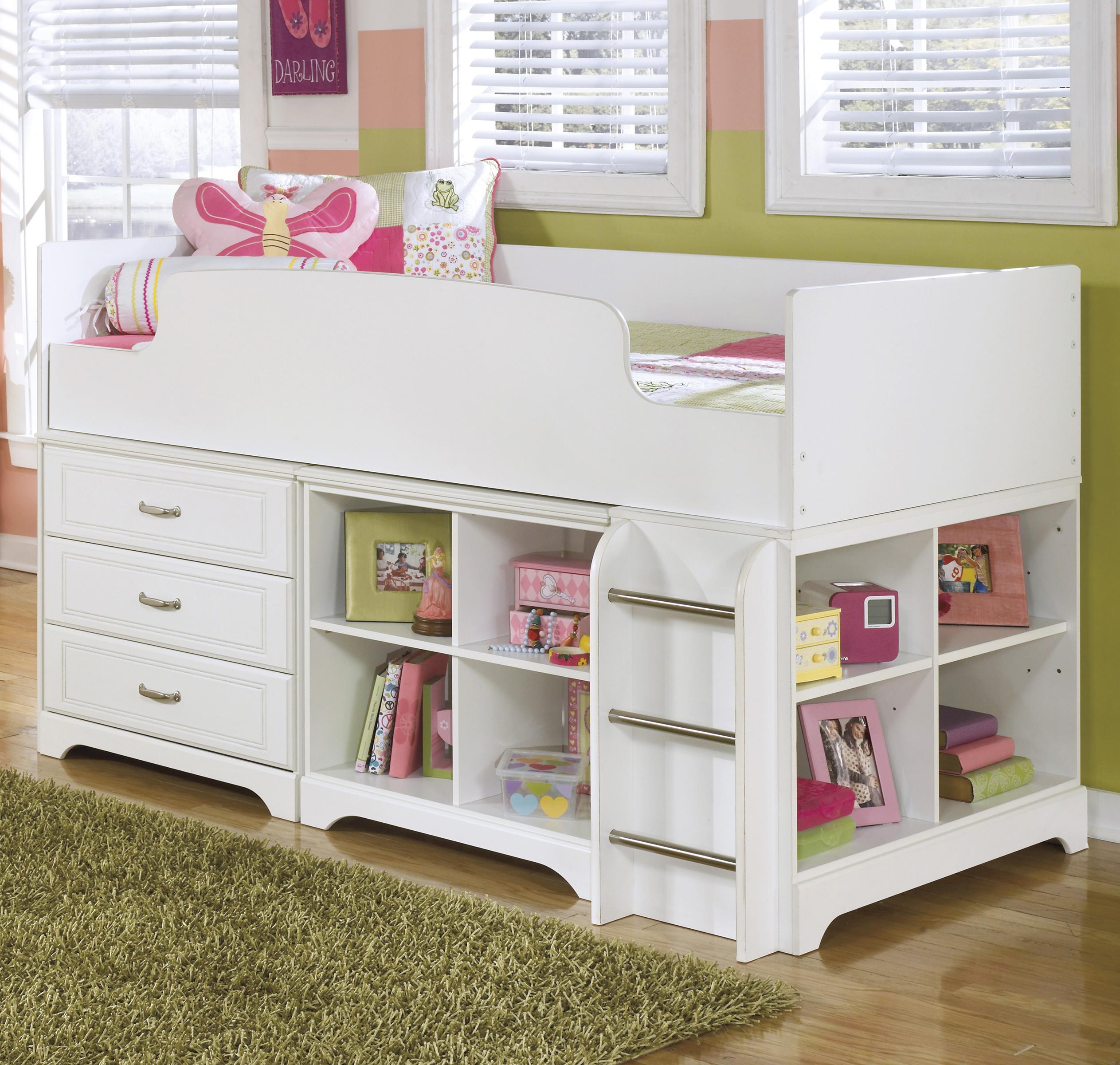 Lulu Twin Loft Bed w/ Loft Drawer & Bin Storage by Signature Design by Ashley at Value City Furniture