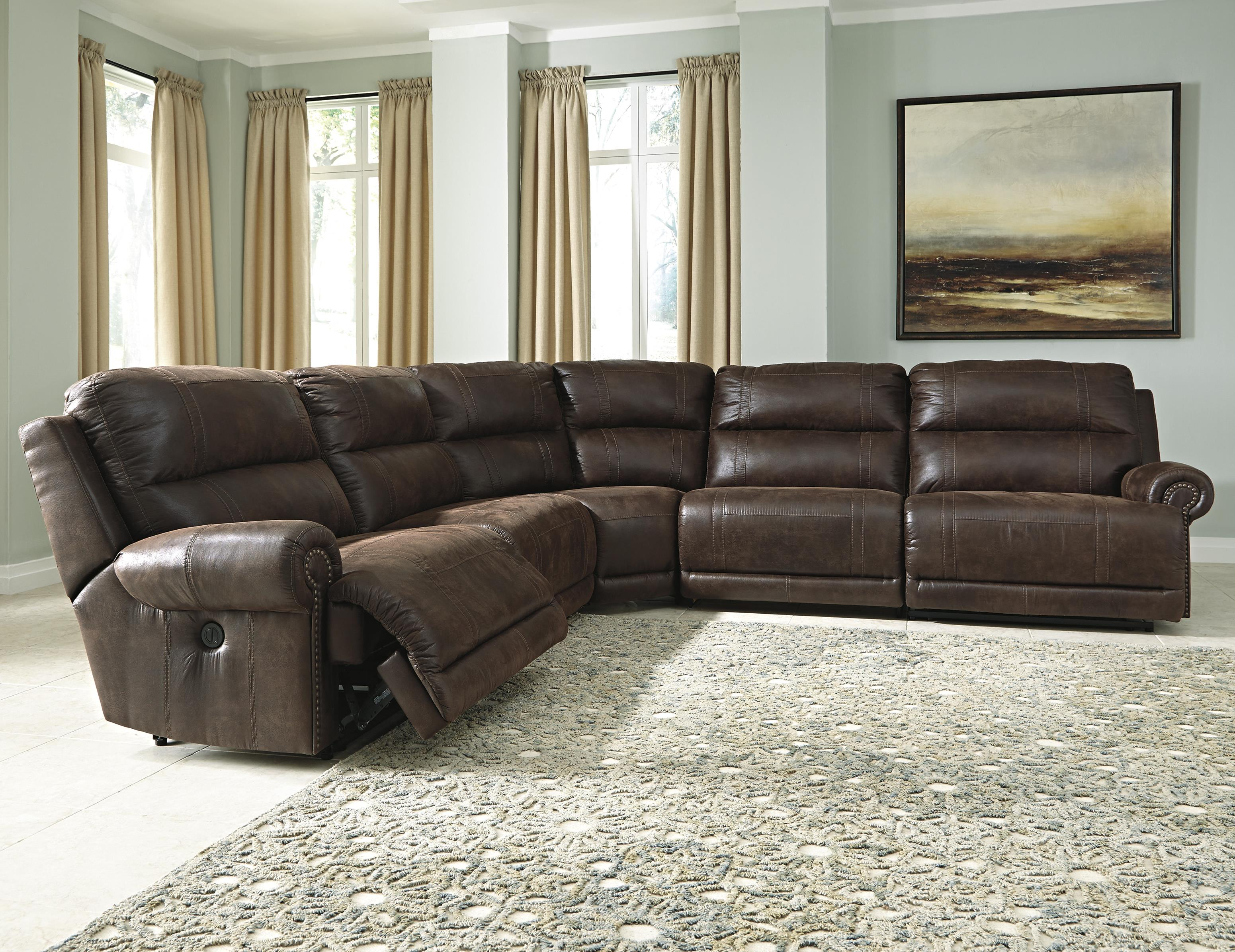 Luttrell 5-Piece Reclining Sectional by Signature Design by Ashley at Lapeer Furniture & Mattress Center