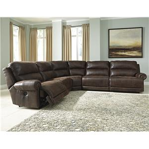 5-Piece Faux Leather Reclining Sectional with Armless Recliners