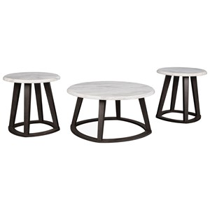 Contemporary Occasional Table Set with Faux Marble Top