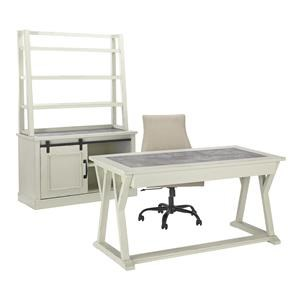 Home Office Desk, Desk Swivel Chair, Cabinet and Hutch Set