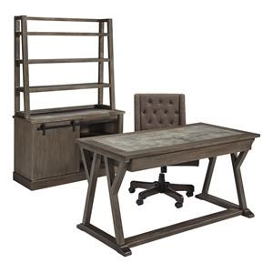 Home Office Desk Office Swivel Chair, Cradenza and Hutch Set