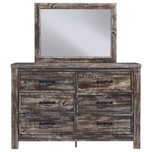 Rustic 6-Drawer Dresser and Mirror Set