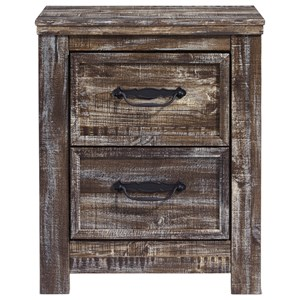 Rustic 2-Drawer Nightstand with USB and Wireless Qi Chargers