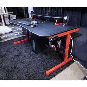 """63"""" Black/Red Home Office Desk"""