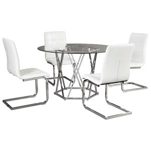 Contemporary 5-Piece Dining Set with Glass Top
