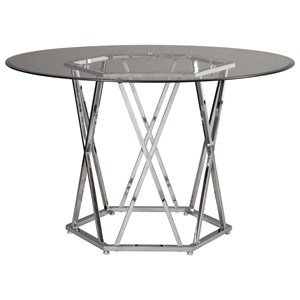 Contemporary Round Dining Room Table with Glass Top