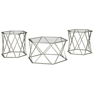 Contemporary Metal & Glass Occasional Table Set