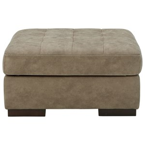 Faux Leather Oversized Accent Ottoman with Tufted Top
