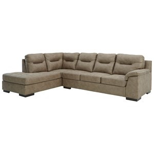 Faux Leather 2-Piece Sectional with Left Chaise