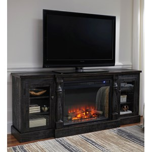 Rustic Black Finish XL TV Stand with Electric Fireplace Insert