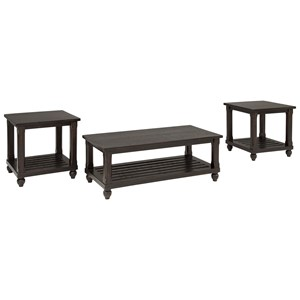 3-Piece Occasional Table Set in Black Vintage Finish