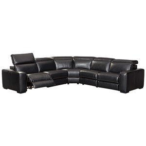 Contemporary Power Reclining Sectional with Power Adjustable Headrests