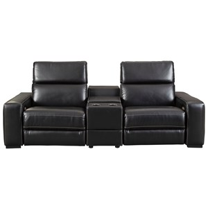 Contemporary Power Reclining Sectional with Center Console