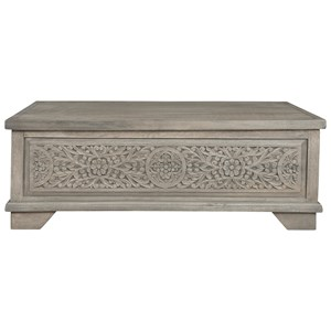 Solid Wood Lift Top Cocktail Table with Engraved Decorative Panel