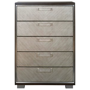 Contemporary Five Drawer Chest with Felt-Lined Jewelry Tray