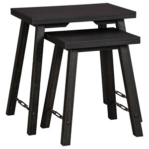 Farmhouse Nesting 2-Piece Accent Table Set in Black Finish