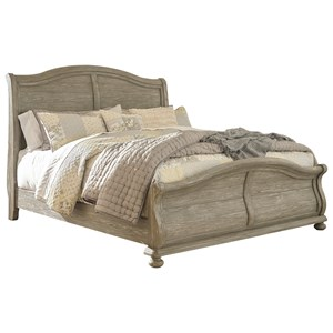 Cottage Style Queen Sleigh Bed in Rustic Gray Finish