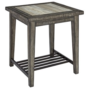 Rustic Square End Table with Ceramic Tile Top