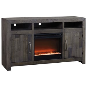 Reclaimed Solid Wood Large TV Stand with Contemporary Fireplace Insert