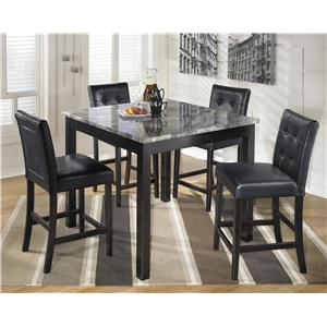 5-Piece Square Counter Table Set with Faux Marble Top