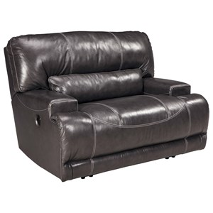 Contemporary Leather Match Wide Seat Recliner