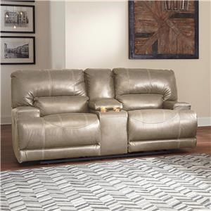 Contemporary Leather Match Double Reclining Power Loveseat w/ Console
