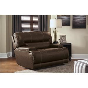 Contemporary Leather Match Wide Seat Power Recliner