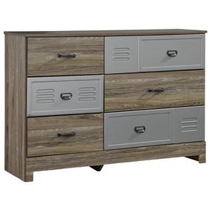 Dresser with 3 Locker Style Drawers