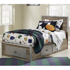 Twin Storage Bed with Locker Style Drawers