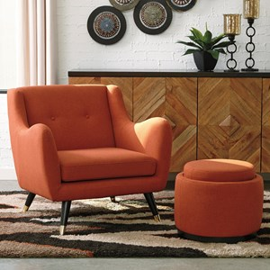 Mid-Century Modern Accent Chair & Ottoman with Storage/Reversible Tray Top