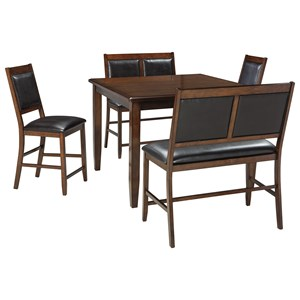 5-Piece Dining Room Counter Table Set with 2 Benches