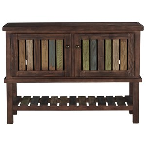 Console with Colorful Plank Doors