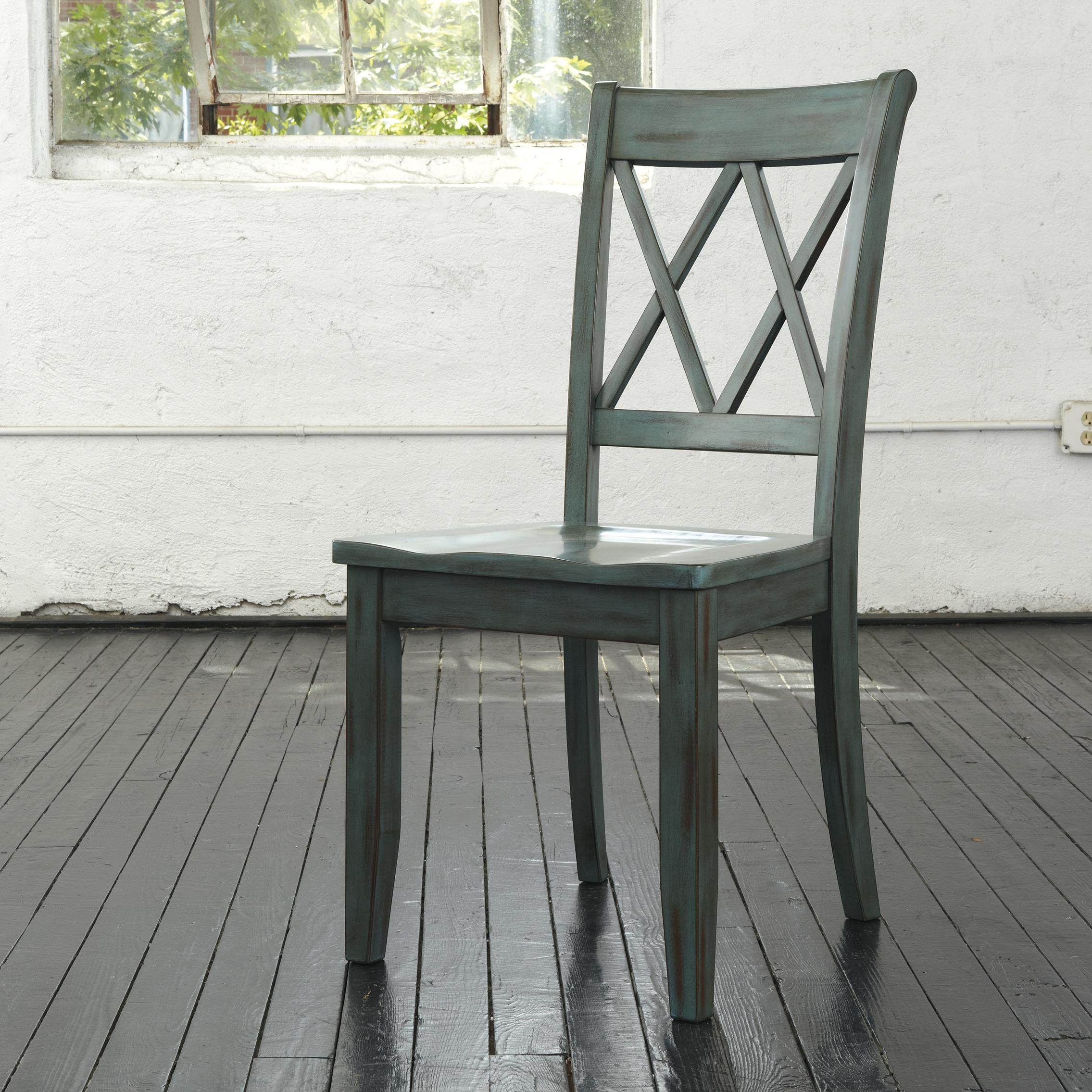 Mestler Antique Blue/Green Dining Room Side Chair by Signature Design by Ashley at Lapeer Furniture & Mattress Center