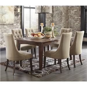 Signature Design by Ashley Mestler 7-Piece Dining Set with Upholstered Chairs