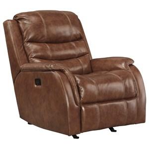 Leather Match Power Rocker Recliner w/ Adjustable Headrest