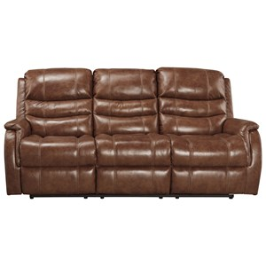 Signature Design by Ashley Metcalf Power Reclining Sofa w/ Adjustable Headrest