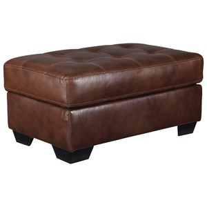 Leather Match Ottoman with Tufted Top