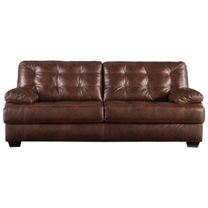 Leather Match Sofa with Tufting