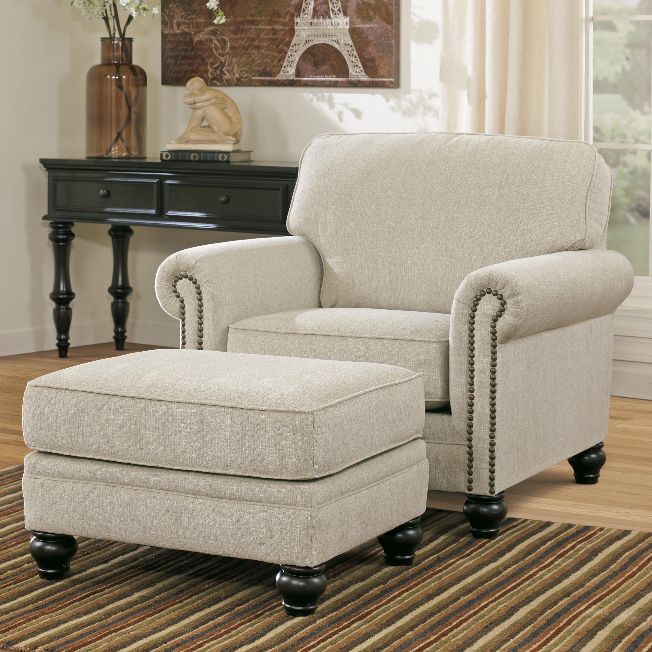 Milari - Linen Chair & Ottoman by Signature Design by Ashley at Catalog Outlet