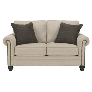 Transitional Loveseat with Rolled Arms with Nail Head Trim