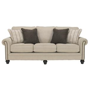 Transitional Sofa with Rolled Arms with Nail Head Trim
