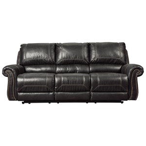 Reclining Sofa with Rolled Arms & Nailhead Trim