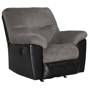 Contemporary Rocker Recliner with Two Tone Upholstery