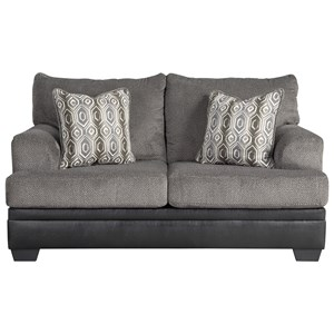 Contemporary Loveseat with Two Tone Upholstery