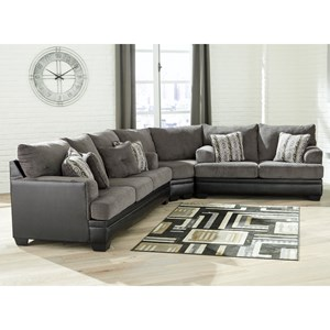 Contemporary Sectional with Two Tone Upholstery