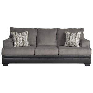 Contemporary Sofa with Two Tone Upholstery