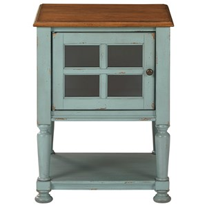 Antique Teal/Brown Accent Cabinet with Glass Door