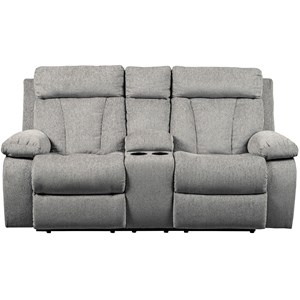 Casual Double Reclining Love Seat with Console