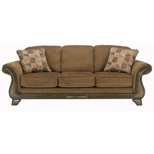 Queen Sofa Sleeper with Flared Arms & Exposed Faux Wood